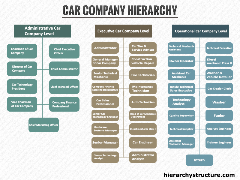 Car Company Hierarchy Hierarchical Structures And Charts